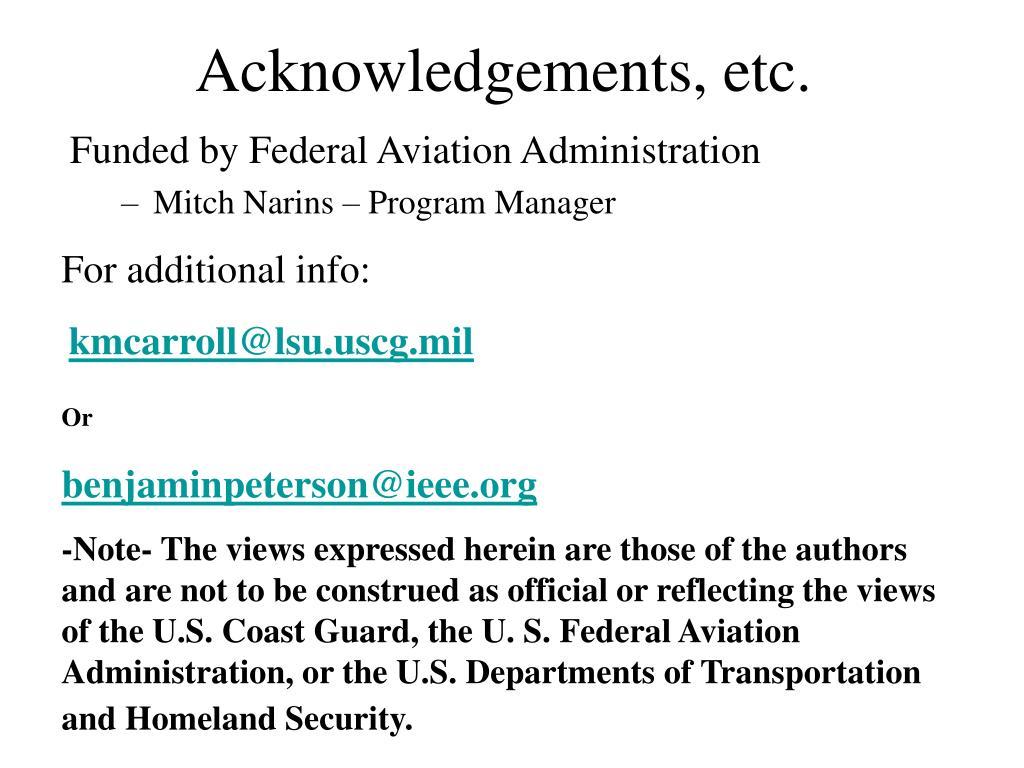 Acknowledgements, etc.