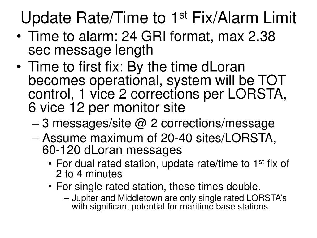 Update Rate/Time to 1