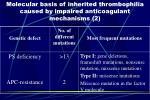 molecular basis of inherited thrombophilia caused by impaired anticoagulant mechanisms 2