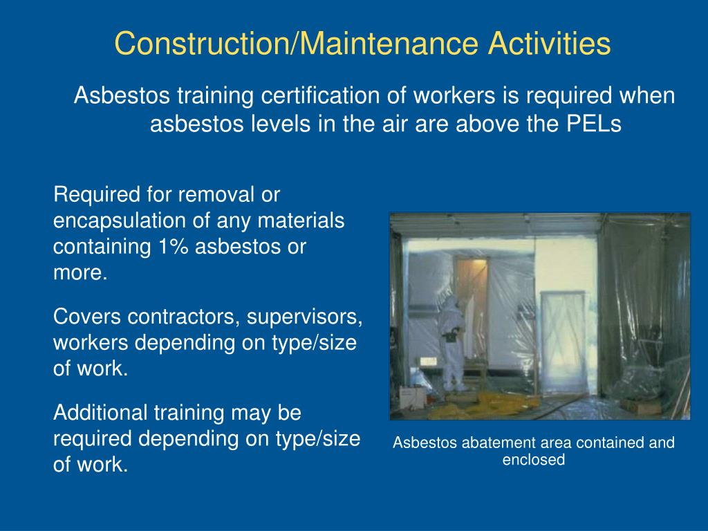 Asbestos training certification of workers
