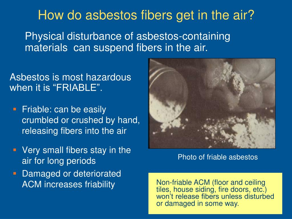 Physical disturbance of asbestos-containing materials  can suspend fibers in the air.