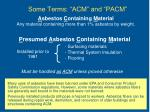 some terms acm and pacm