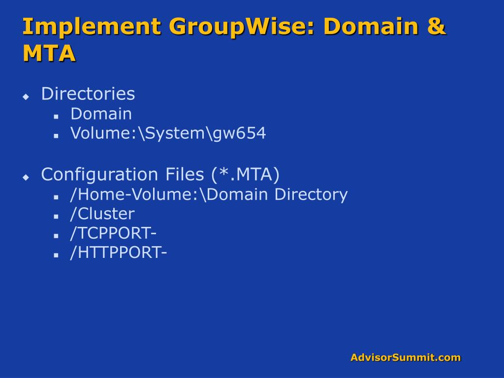 Implement GroupWise: Domain & MTA