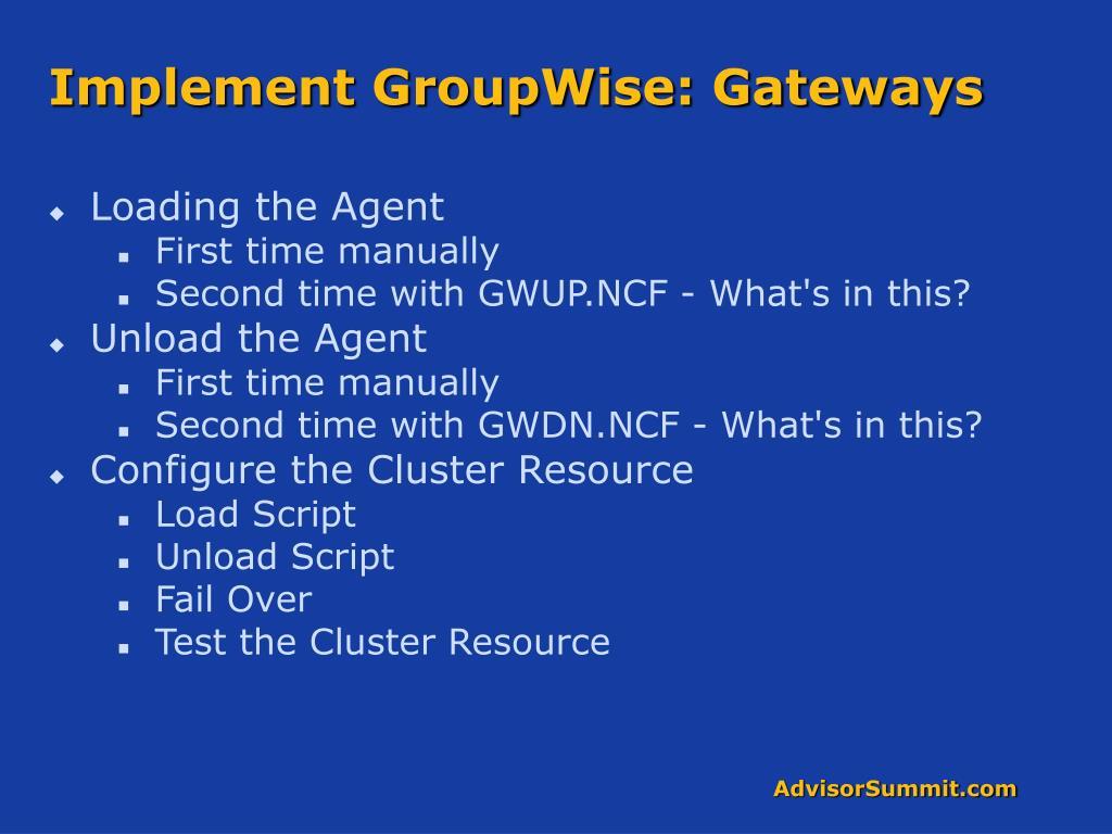 Implement GroupWise: Gateways