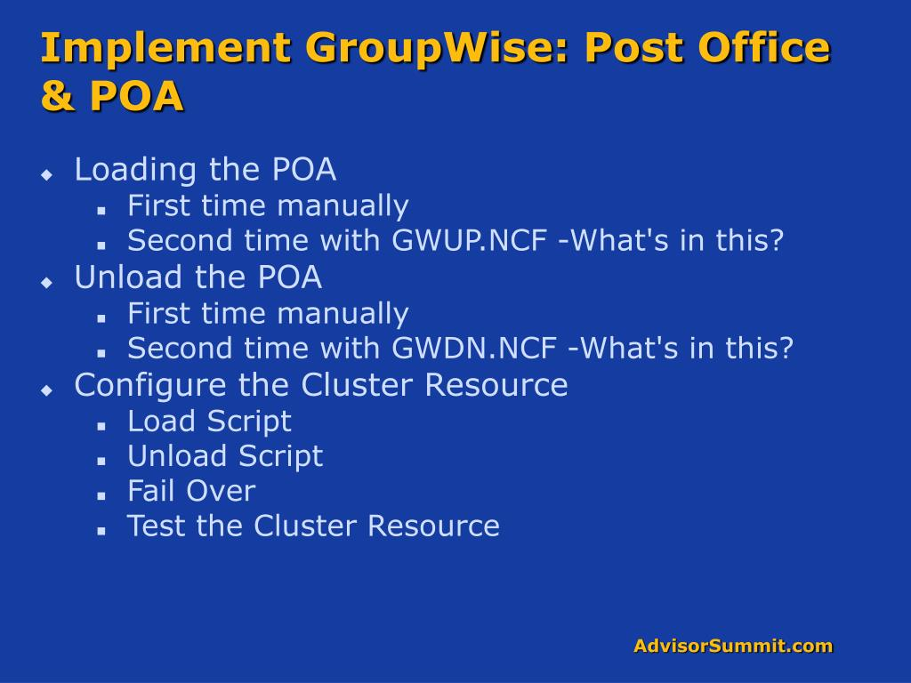 Implement GroupWise: Post Office & POA