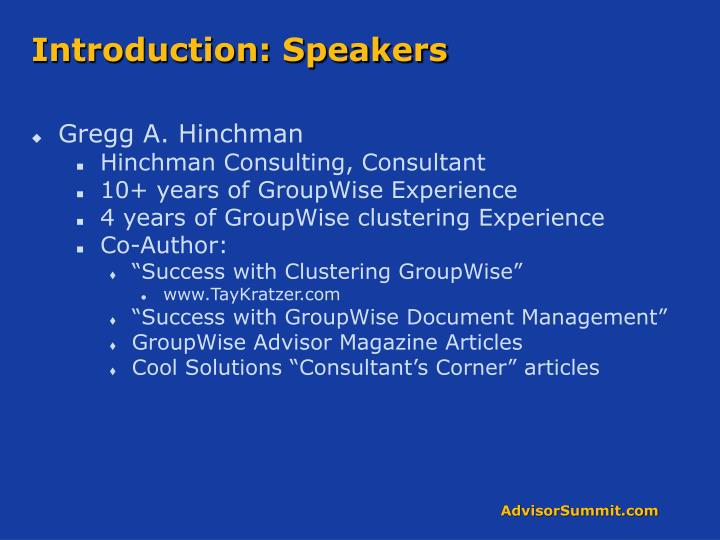 Introduction speakers