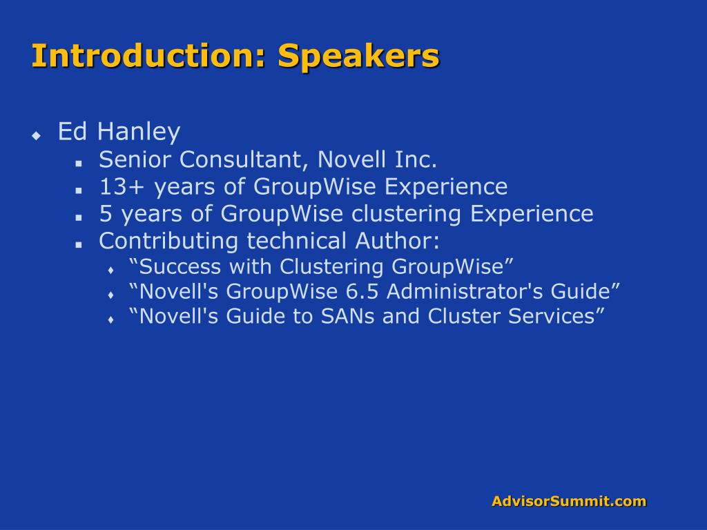 Introduction: Speakers