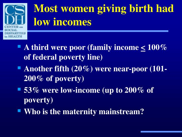 Most women giving birth had low incomes
