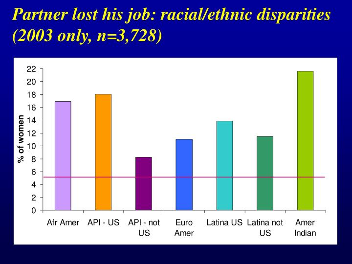 Partner lost his job: racial/ethnic disparities (2003 only, n=3,728)