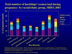 total number of hardships 1 women had during pregnancy by racial ethnic group miha 2003