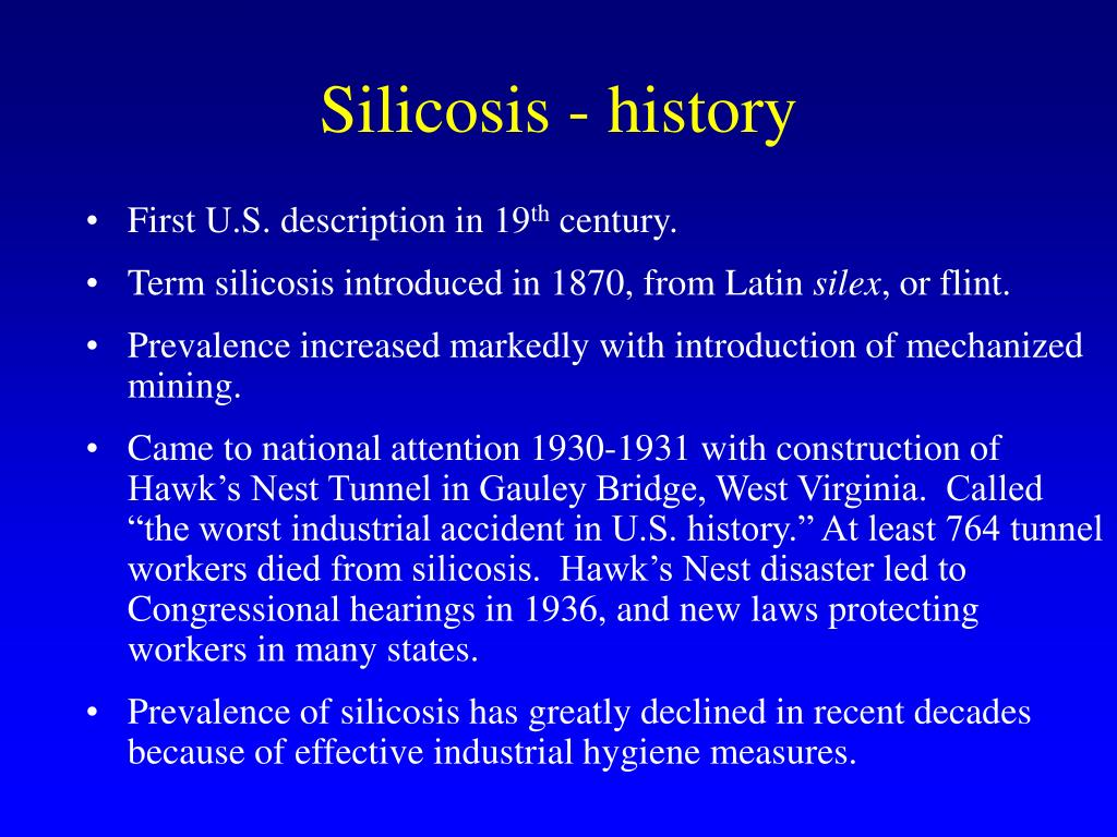 Silicosis - history