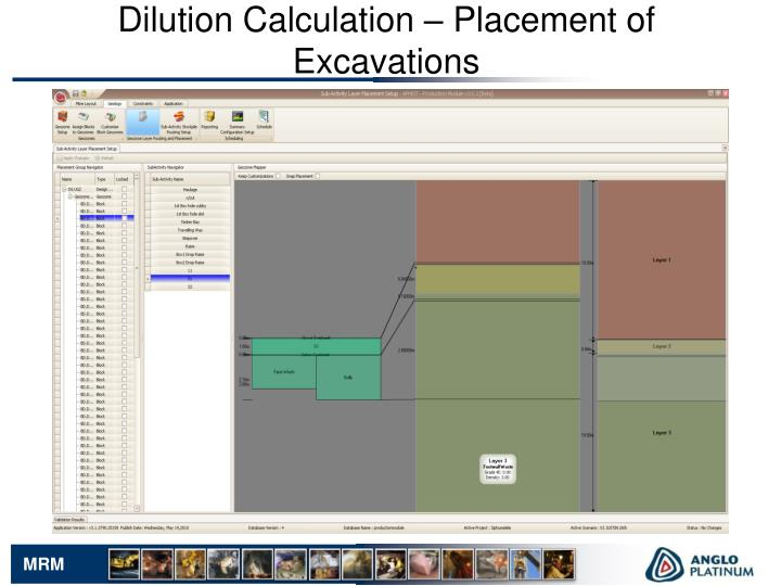 Dilution Calculation – Placement of Excavations