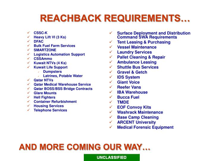 Reachback requirements