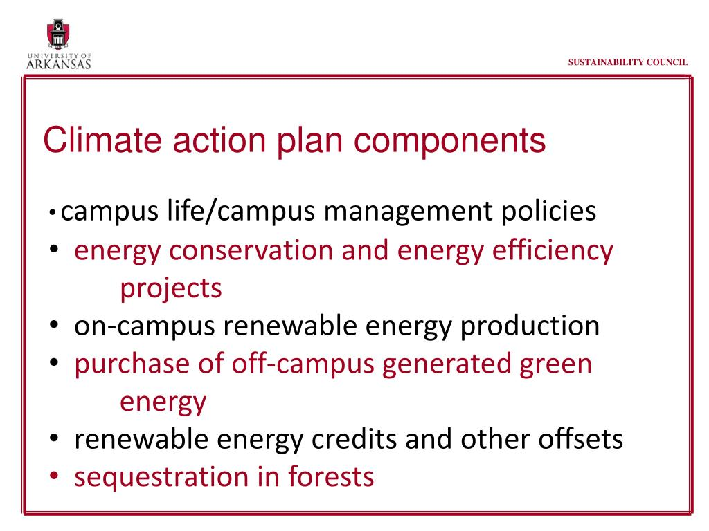 Climate action plan components