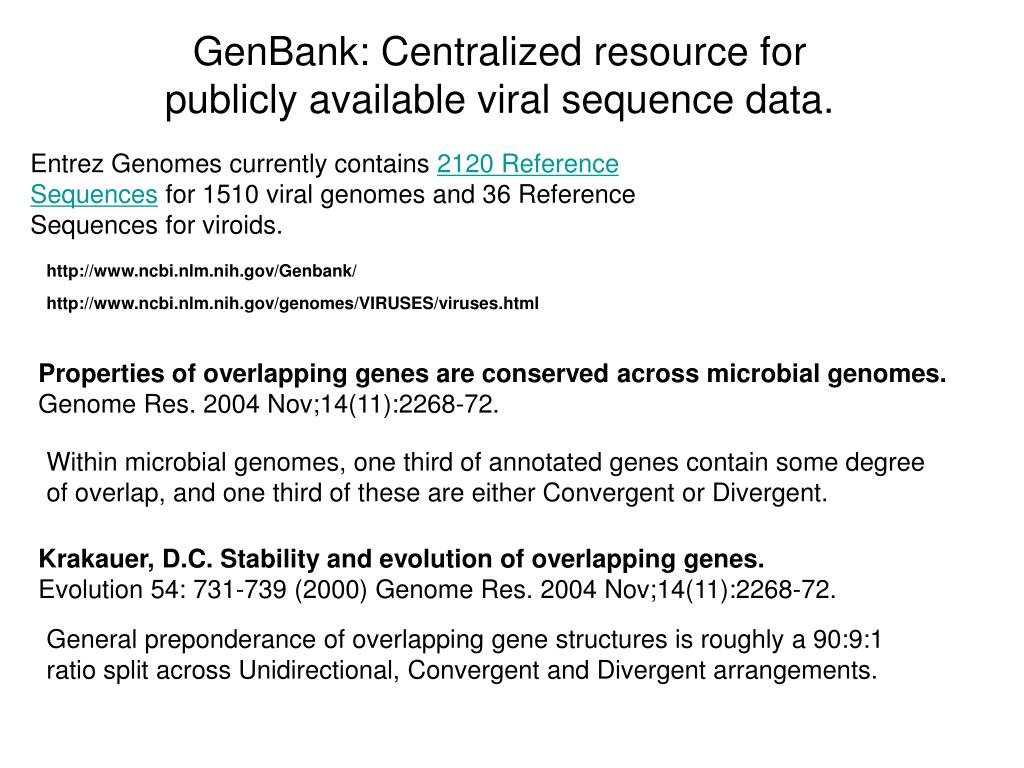 GenBank: Centralized resource for publicly available viral sequence data.
