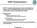 puff characteristics