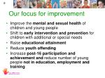 our focus for improvement