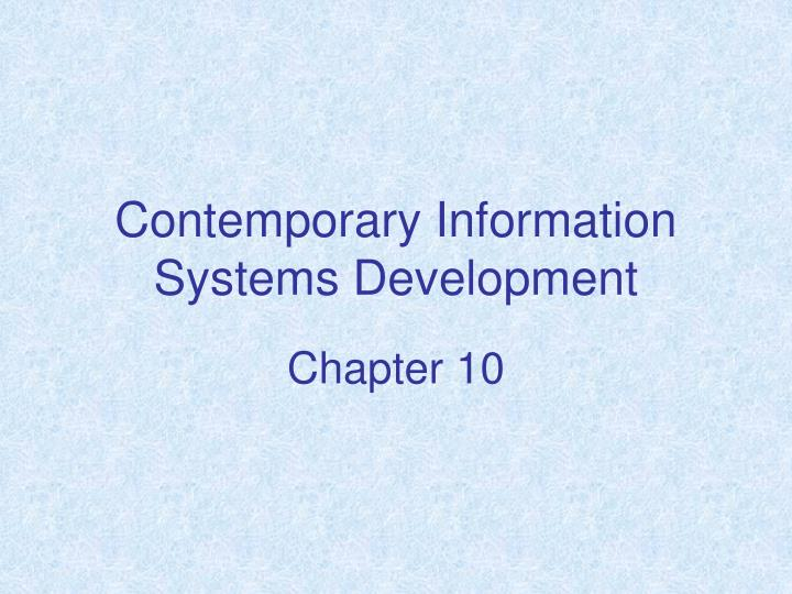 contemporary information systems development n.