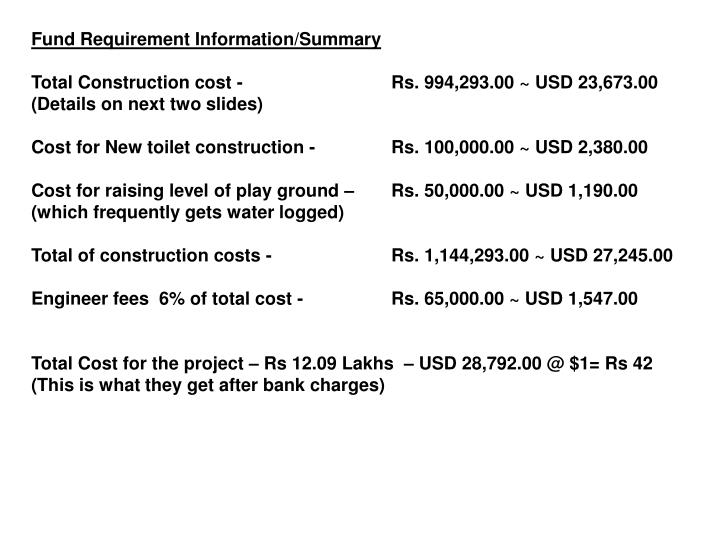 Fund Requirement Information/Summary