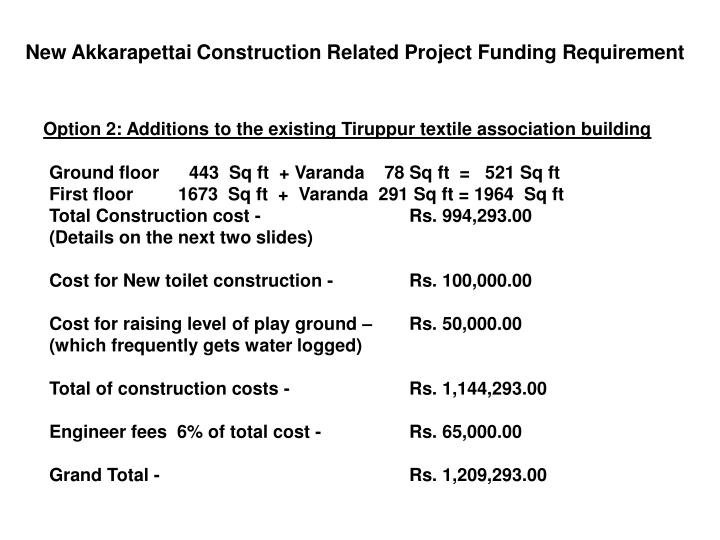 New Akkarapettai Construction Related Project Funding Requirement