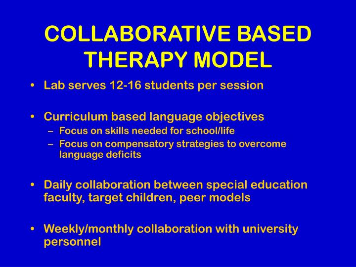 Collaborative based therapy model