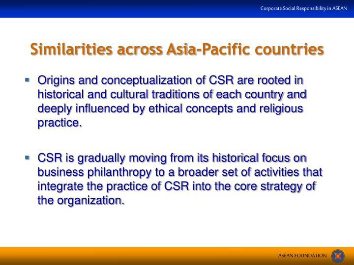 Similarities across Asia-Pacific countries