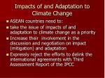 impacts of and adaptation to climate change