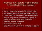 weakness that needs to be strengthened by the asean member countries