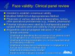 face validity clinical panel review