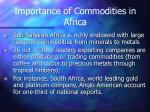 importance of commodities in africa