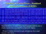 volatility in cocoa prices standard deviation measures liffe