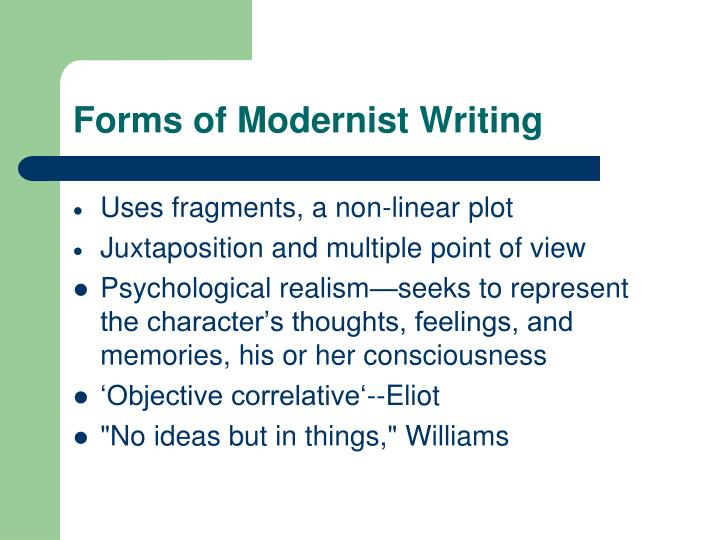 Forms of Modernist Writing