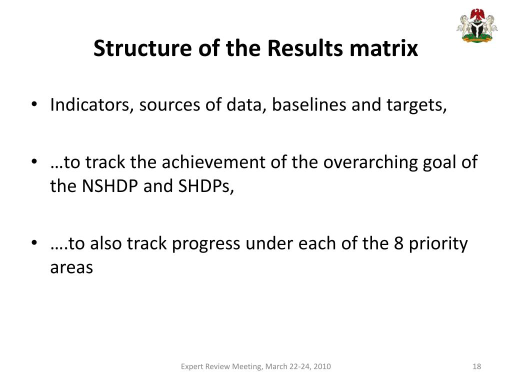 Structure of the Results matrix