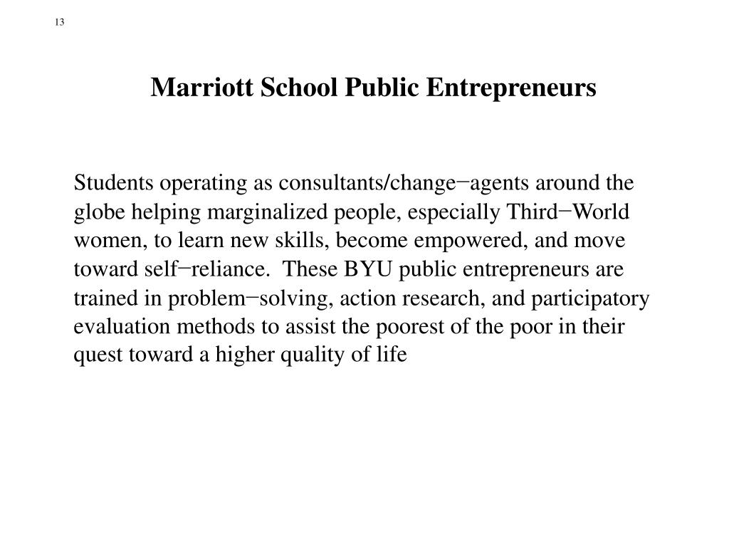 Marriott School Public Entrepreneurs