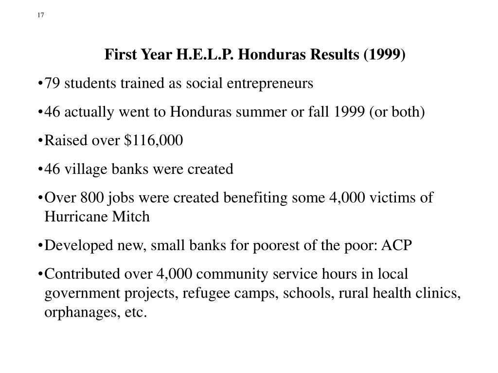 First Year H.E.L.P. Honduras Results (1999)