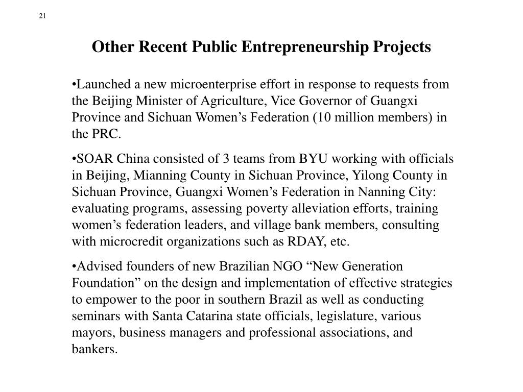 Other Recent Public Entrepreneurship Projects