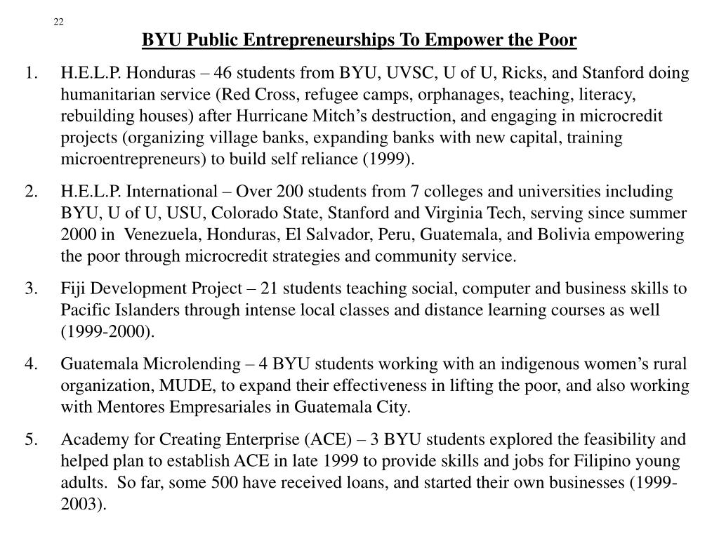 BYU Public Entrepreneurships To Empower the Poor
