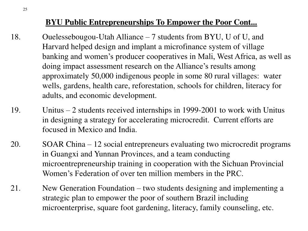 BYU Public Entrepreneurships To Empower the Poor Cont...