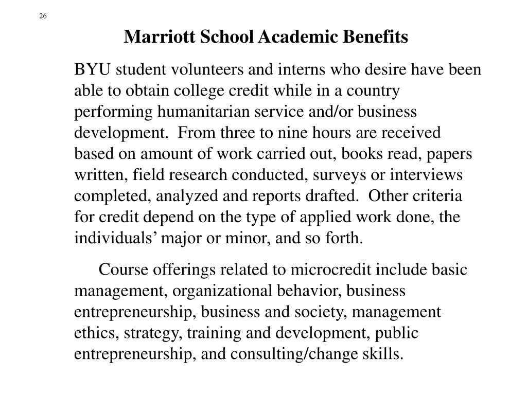 Marriott School Academic Benefits