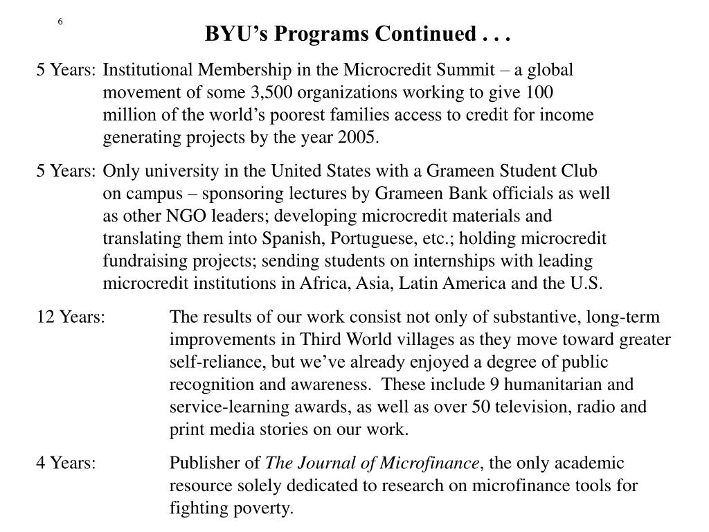 BYU's Programs Continued . . .