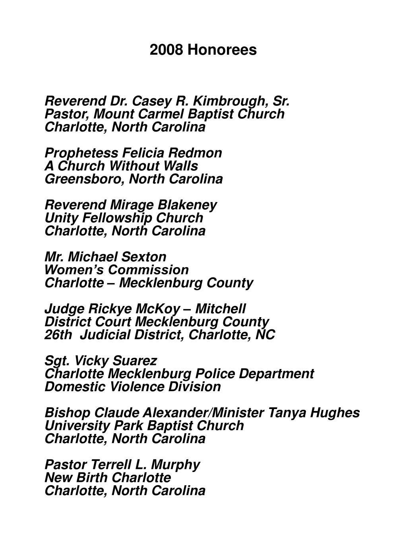 2008 Honorees