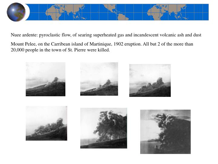 Nuee ardente: pyroclastic flow, of searing superheated gas and incandescent volcanic ash and dust