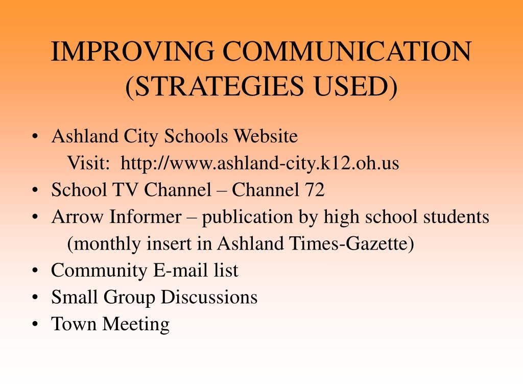 IMPROVING COMMUNICATION  (STRATEGIES USED)