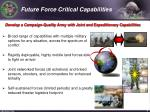 future force critical capabilities
