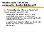 what factors lead to the personality health link cont21