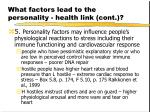 what factors lead to the personality health link cont25