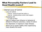 what personality factors lead to good health cont10
