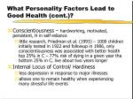 what personality factors lead to good health cont9