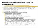 what personality factors lead to good health