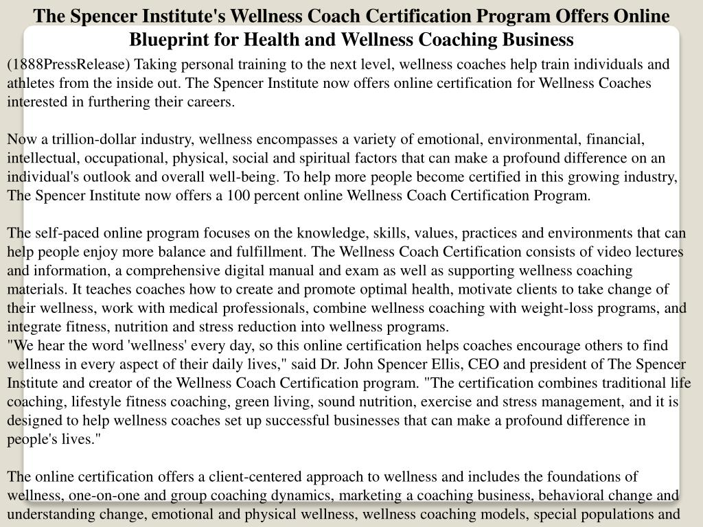 Ppt The Spencer Institutes Wellness Coach Certification Program